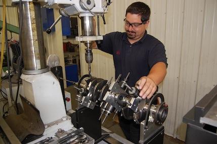 Man machining a part